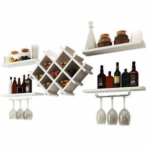 Wall Mount Wine Rack Storage Shelf & Glass Holder Organizer Bar Cabinet Decor