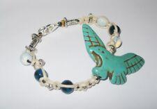 "Unique GEMSTONE bracelet HOWLITE ""EAGLE"" OPALITE. dyed CHRYSOCOLA, CLAY 19.5cm"