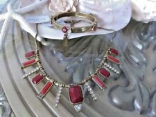 NWT SILPADA *MIRAGE* RED FACETED STONES/CRYSTAL/BRASS NECKLACE & BANGLE SET