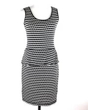 Max Studio Dress SMALL Black White Peplum Sleeveless Lined Scoop Neck Career