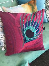Stunning Peacock Cushion Cover - Magenta-Beautiful Bright Colours