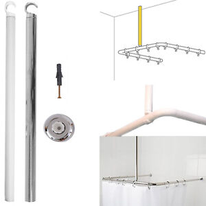 HomeCentre® Shower Curtain Rail Ceiling Support 55cm Corner Rail Rod Bath Chrome