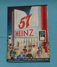 vintage HEINZ 57 EXHIBIT MANUAL from 1939 New York World's Fair