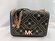 NWT Michael Kors Istanbul MOTT Large Chain Flap Shoulder Bag Black/Gold