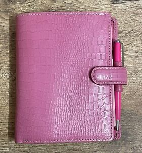 FILOFAX Mock Croc Pocket Organiser Real Leather Pink Breast Cancer Campaign Ed