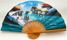 folding fan painted decorative art red cranes blue waterfalls birds display 20""