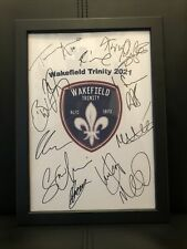 More details for wakefield trinity 2021 rugby league hand signed framed a4 autograph sheet