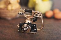 Vintage Telephone Landline Phone Brooch 18k Rose Gold Over Enamel DiamondJewelry
