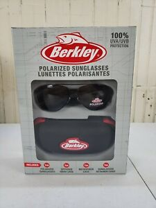 Berkley Polarized Sunglasses Black 100% UVA/UVB w/ Zippered Hard Case- NEW