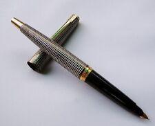 India Vintage Cut Grid Pattern Medico Fountain Pen F Golden Nib Aero-metric Blk