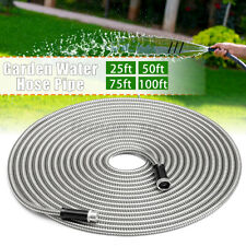 25/50/75/100ft Stainless Steel Water Hose Pipe Metal Garden Nozzle Connect