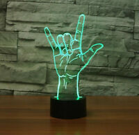 Hologram Night Light USB I Love You Sign Language LED 3D Optical Illusion