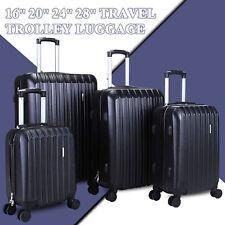"""4 Piece ABS Luggage Set Light Travel Case Hardshell Suitcase 16""""20""""24""""28"""" Black"""