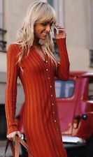 Bnwt Zara Ribbed Dress With Polo Collar Size L Bloggers Fave