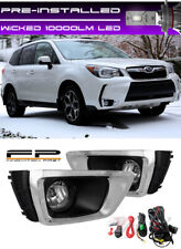For 14-17 Subaru Forester XT Clear Fog Lights Lamp Complete Kit + WICKED LED Kit