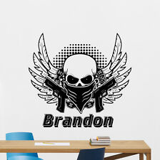 Custom Name Military Wall Decal Personalized Skull Gun Vinyl Sticker Mural 52thn