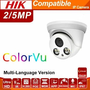 Hikvision Compatible 2-8MP ColorVu POE IP IR Camera 30m ONVIF H.265 Built-in Mic