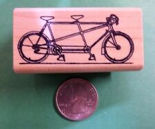 Tandem Bicycle Built for Two, wood mounted rubber stamp