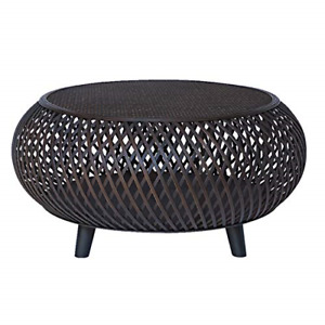 RANDEFURN Round Coffee Table,Bamboo Rattan Wood Center Table, Wicker Sofa Table,