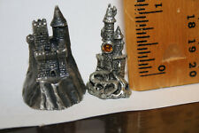 "2 Different Pewter Figurines - Fantasy Castles 1 1/4"" Jsh"