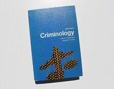 Vintage Criminology Ninth Edition Book Sutherland Cressey Police Law Enforcement