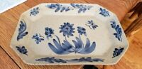 Signed & Dated 2000 Olde Charleston Art Pottery Tray-Hand Painted Blue Florals