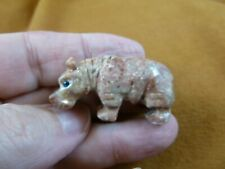 (Y-Hip-37) red tan Hippo Hippopotamus gem Gemstone carving Soapstone love hippos