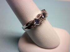 10K White Gold Ring 3 Unknown Pink Stones w/Clear Accents Size 8.5Weight 3.1 Gr