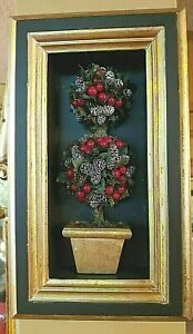 """Christmas Blk & Gold Framed Red Berry Topiary Hangs or Stands 12"""" Tall"""