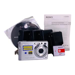 Sony Cyber-Shot DSC-W80 7.2 Megapixel Camera w/ 4 Chargers & Battery Software
