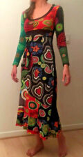 DESIGUAL Colorful Dragon Dress Long Sleeves Cotton with Embroidery Size Small