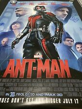 Ant-Man Poster 27x40 DS Theatrical Signed Paul Rudd Evangeline Lilly Corey Stoll