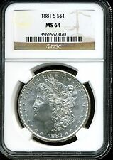 1881-S $1 Morgan Silver Dollar MS64 NGC 3566567-020