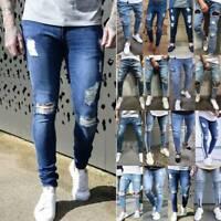 US Men Ripped Biker Skinny Jeans Frayed Destroyed Trousers Slim Denim Pants Blue