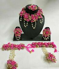 Artificial Flower Jewelry Indian Haldi Pearl Wedding Floral Necklace Set 6 Pcs