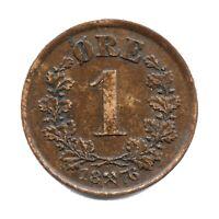 KM# 352 - 1 Ore - Oscar II - Norway 1876 (F)