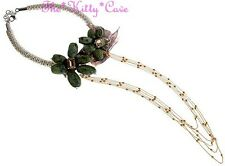 Designer Handmade Couture Green Japser & Real Freshwater Rice Pearls CZ Necklace