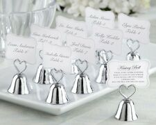48 Silver Heart Kissing Bell Place Card Photo Holder Bridal Wedding Favor