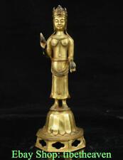"12"" Marked Old Tibet Copper Gold Stand Avalokitesvara Guan Yin Goddess Statue"