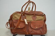 Ralph Lauren RRL Made in Italy Distressed Leather & Canvas Weekender Duffle Bag