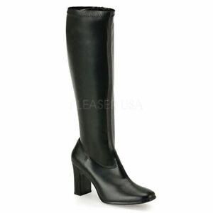 "*Funtasma 3.75"" Block Heel Matte Black Stretch Gogo Glam Knee Boots Retro 8"