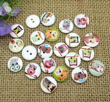 """Pkg of 10 OWL 2-hole White Wooden Buttons 5/8"""" (15mm) Scrapbooking Craft (9085)"""