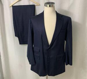 Steed Savile Row London England Blue Pinstriped Custom Bespoke Suit 2B 44R 38W