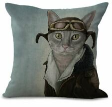 Gorgeous anthropomorphic aviator cat vintage painting cushion cover BN - Style 2