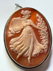 Antique Italian vintage silver hand carved oval shell cameo brooch or pendant