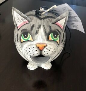 Gordo Grey Tabby Cat Bird House, Hand Carved and Hand Painted, Great Condition