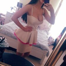 NEW House of CB Celeb Boutique LuLu Cream Nude Pink Satin Peplum Dress S 10 M 12