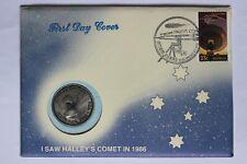 Australia PNC 1986 HALLEY's COMET Stamp Medal FDC Alice Springs  (3363153/H1)