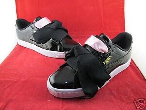 Puma Basket Hearht Patent Jr Black All Sizes 3 4 5 6 SportsLocker 364817-01