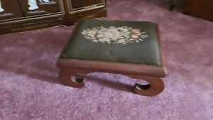 Antique  asian  wood frame needlepoint footstool. 17 x14.
